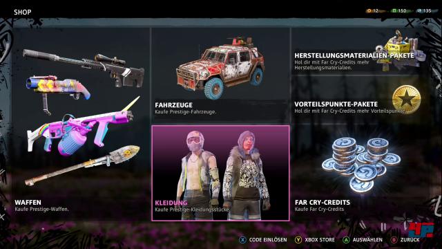 Mit den Far Cry Credits, die es auch gegen Echtgeld gibt, kann man nicht nur Premium-Skins kaufen, sondern auch die Kampagne erleichtern, indem man sich dafür die Perk-Verbesserungen kauft.