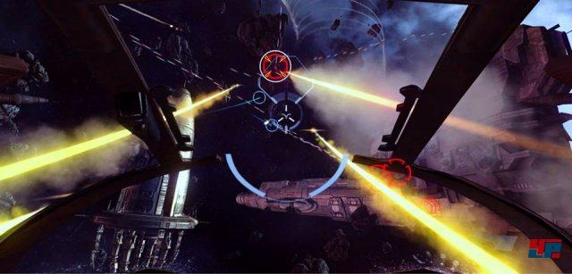Eve: Valkyrie<br><br>Raumkämpfe sind nichts Besonderes, Mehrspieler-Gefechte ebenso wenig. Allerdings ist Eve: Valkyrie das erste namhafte Spiel, das exklusiv für die 3D-Brille Oculus Rift entwickelt wird. Und die ersten Duelle im Cockpit haben uns geradewegs ins All geblasen! Der Ableger von Eve Online steht für eine neue Generation der virtuellen Realität, die Ende dieses Jahres beginnen soll. 92474802