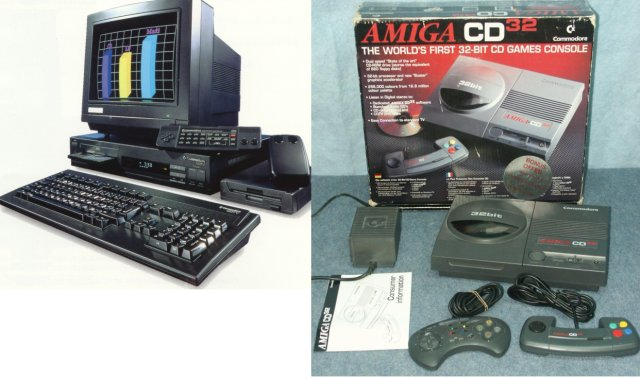 Amiga goes Multimedia <br><br>  Bei Commodore wollte man allerdings nicht einsehen, dass die Zeit des Amiga abgelaufen war. So verhedderte man sich im Versuch, die Marke auch im Multimedia-Bereich zu etablieren und gleichzeitig auch noch im Konsolenmarkt anzugreifen, wo der Krieg um Marktanteile bereits zwischen Nintendo, Sega, Atari (Jaguar) und 3DO tobte. Weder mit dem CDTV (Commodore Dynamic Total Vision, 1991) noch der auf der Amiga 1200-Technologie basierenden Videospielkonsole CD32 (1993) sowie dem parallel erschienenen CD-Laufwerk für den Computer konnte man Erfolge verzeichnen, um die Amiga-Marke am Leben zu halten. Gravierenden Fehler beim Marketing der Geräte waren ebenfalls erneut einer der Gründe, warum der Funke nicht zünden wollte. Das Ende vom Lied: Am 29. April 1994 musste Commodore Insolvenz anmelden.               2133133