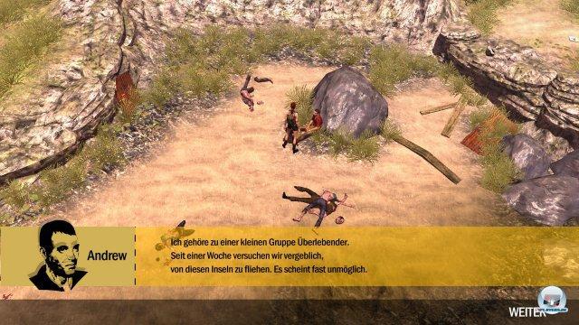 Man beginnt mit einem von drei Charakteren, die auf einer Insel gestrandet sind. Story? Schwamm drüber...
