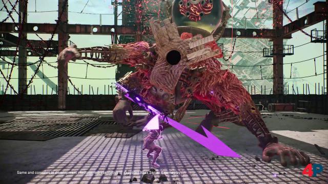 Boss-Gegner der Spielszenen, die ich zu Gesicht bekam - gegen den helfen flinke Katana-Hiebe und ein Telekinese-Behandlung mit Stahlträgern.