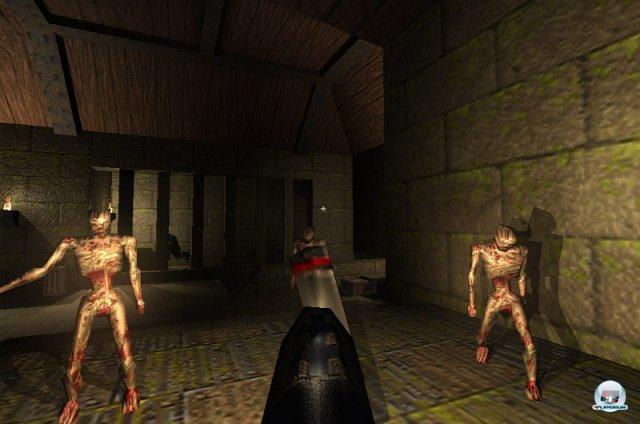 <b>Es werde Licht! </b><br><br> Auch Quake brachte eine Innovation ins Genre: Dank räumlicher Polygone sahen die Monster nicht mehr aus wie flache Pappaufsteller. Carmack erfand bei der Arbeit am Spiel das