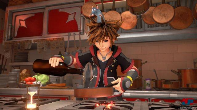 Mit Remy aus Pixars Ratatouille darf man sich an Kochrezepten probieren.