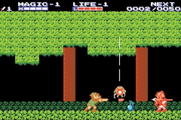 Zelda II: The Adventure of Link<br><br>Gerade mal anderthalb Jahre nach dem ersten erschien in Japan bereits der zweite Teil fürs NES (der Rest der Welt musste fast zwei Jahre länger warten) - und spaltete die Fangemeinde: Statt eines Vogelperspektiven-Adventures gab es eine merkwürdige Mischung aus Sidescroller-Action mit Plattformspringereien aus der Seitenperspektive (inkl. Extraleben) und RPG (inkl. Zufallskämpfe und Charakterentwicklung). Das Spiel war zwar ein Verkaufshit, gilt aber im Nachhinein als das schwarze Schaf der Zelda-Serie: Zwar war es mit vielen Ideen seiner Zeit voraus, die obskure Mischung hinterließ allerdings nicht den besten Eindruck - es mag damit nichts zu tun haben, aber es passt in den Kontext, dass Zelda 2 das einzige Zelda ist, dass nicht den kompletten Titel »The Legend of Zelda« im Titel trägt. I AM ERROR! 1722617