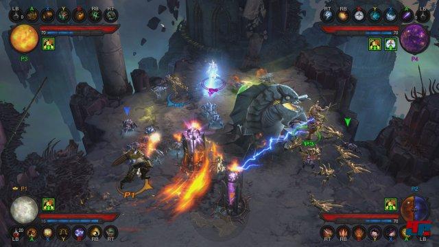 Auch mit vier Spielern und entsprechendem Effekt-Gewitter bleibt die Bildrate angenehm stabil.