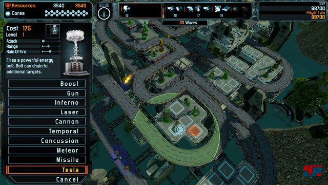 Im lokalen Zwei-Spieler-Modus können zwei Spieler gemeinsam die Turm-Verteidigung hochziehen. Beide Spieler teilen sich ein Budget.
