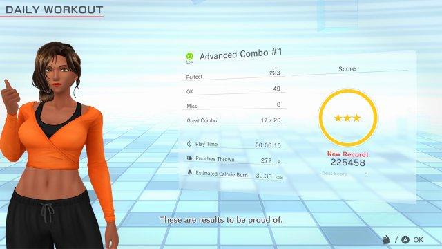 Nach dem Workout zeigt die Trainerin die Statistik.