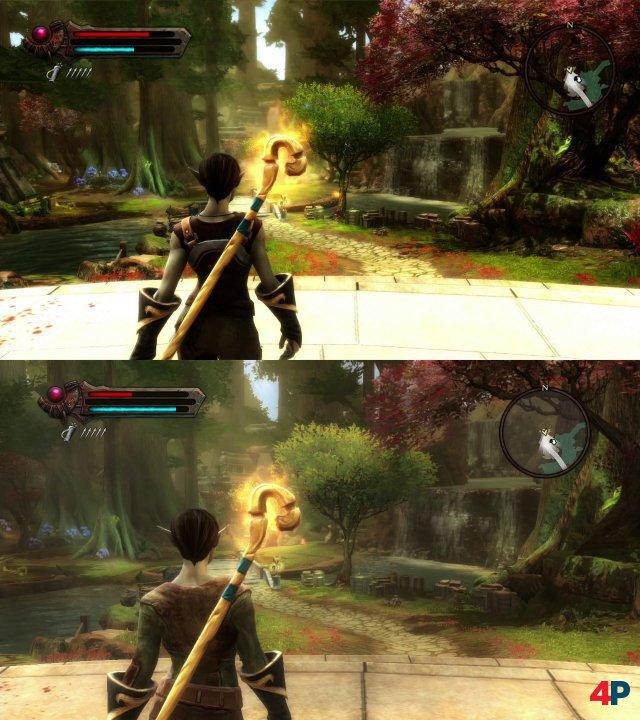 Grafik-Vergleich: Das obere Bild zeigt den ersten Schritt an der Oberfläche in der Remaster-Version. Das untere Bild stammt von der Xbox-360-Fassung. Texturen und Ausleuchtung fallen sofort ins Auge - sowie die Leere der Welt.