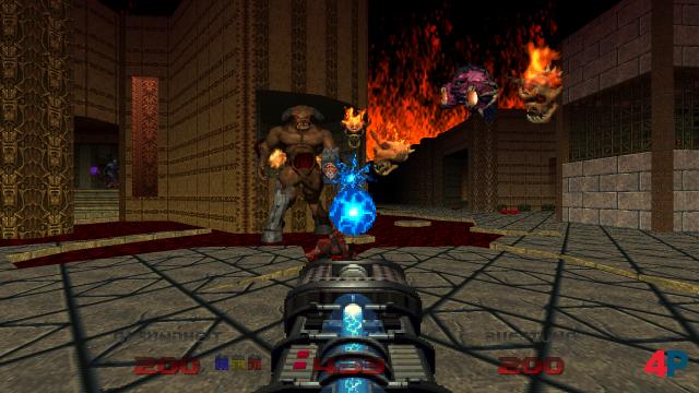 In den letzten Levels von Doom 64 geht es richtig ab - hier spuckt die Hölle ganze Heerscharen ihre garstigsten Kreaturen aus.