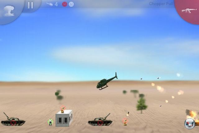 <b>Der beste Arcade-Spaß: Chopper</b><br><br>Das gute alte Choplifter-Spielprinzip wird hier um schöne 2 ½D-Grafik, anspruchsvoll designte Levels und eine perfekte Neigungssteuerung bereichert - ein übler Zeitfresser im besten Sinne!<br><br>Ebenfalls empfehlenswert: iShoot, Space Ninja, Blue Skies, Blue Defense, Retro - Cave Flyer, Iron Man, Alien Abuse, Crazy Tanks<br><br> 1950693