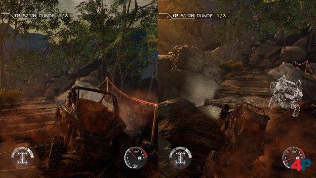 Splitscreen-Duell: Die Silhouette des Gegners ist super erkennbar - aber nur, wenn der noch in Sichtweite ist.
