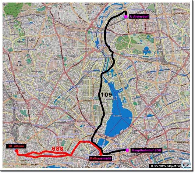 Die Gesamtstreckenführung der beiden Linien kann sich sehen lassen. 15 Kilometer Buslinie.