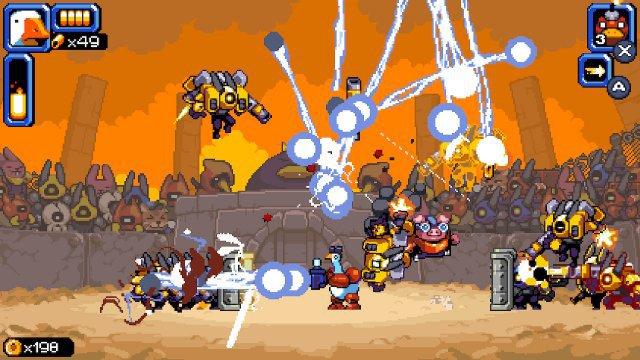 Fliegende Feinde in der Luft, pixeligen Maschinen auf dem Boden - und in der Mitte eine Pixelgans die mit ihrem Blitzgewehr austeilt. Mighty Goose ist Arcade-Action pur!