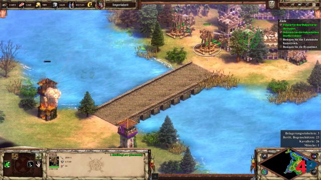Age of Empires 2 in Reinform: Mit den Triböcken werden die gegnerischen Türme aus der Entfernung attackiert.
