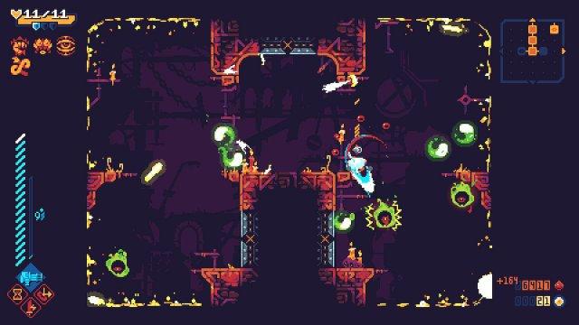 Schöner Kniff, der im Screenshot leider kaum zu erkennen ist: Die gelben Wände sind Portale, wer unten durchspringt, fällt von oben wieder ins Bild.