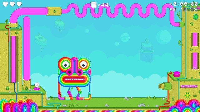 Bosskampf: Um dieses farbenfrohe Monster aufs Kreuz zu legen, muss Spinch die Schuss-Maschine rechts mit seinen Babies laden.