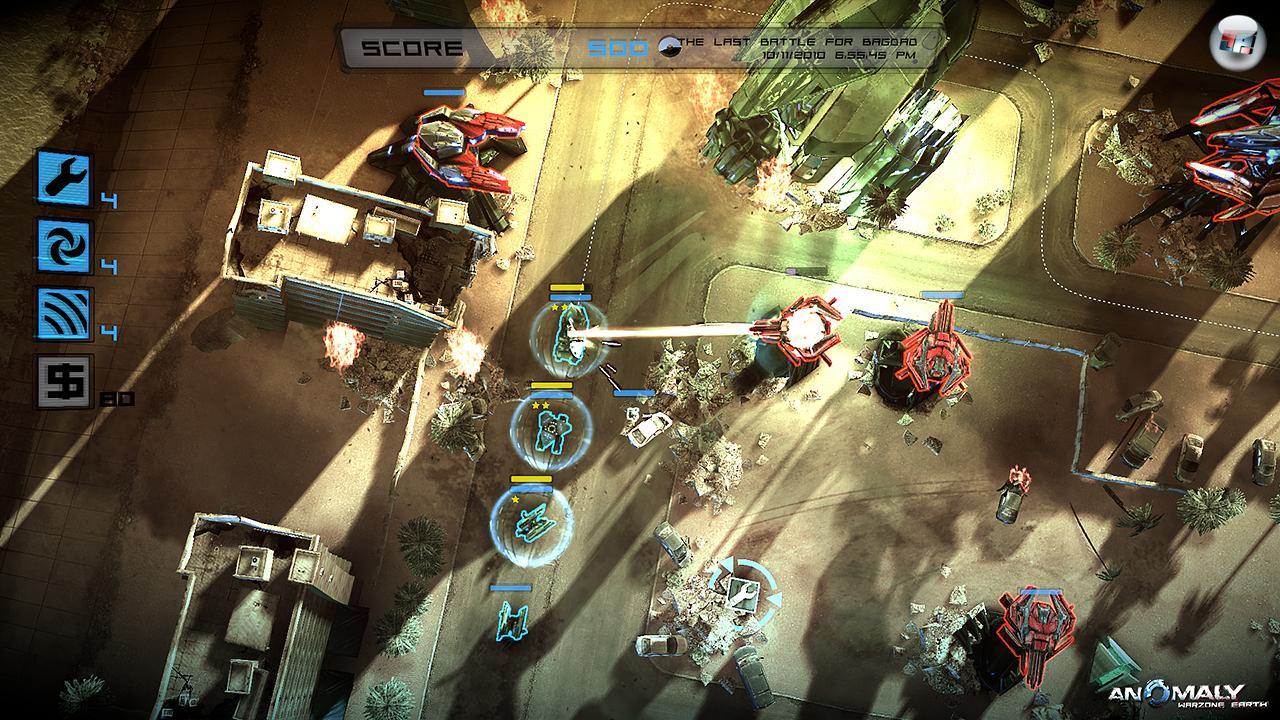 Die von einem Schutzschild umgebenden ersten Fahrzeuge des Konvois beginnen den Angriff auf die feindlichen Türme.