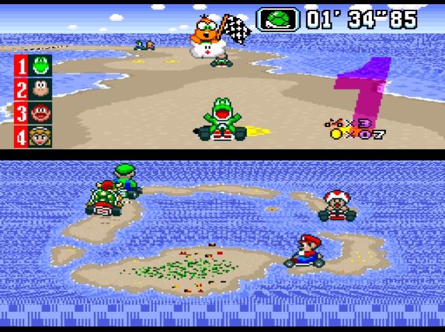 <b>Super Mario Kart</b><br><br>Zu diesem 1992er Spiel, das erst vor kurzem in seine achte Runde ging, muss wohl nicht mehr viel gesagt werden: Es war in so vieler Hinsicht das erste seiner Art, dass es einen gigantischen Boom auslöste, der dafür sorgte, dass mittlerweile fast jeder mehr oder weniger bekannte Videospieleheld mindestens einen Spin-Off-Auftritt mit Kartschein hat. Beispiele? Diddy Kong Racing, Bomberman Kart, Sonic Drift, Mega Man Battle & Chase, Digimon Racing, Shrek: Smash'n'Crash Racing, Chocobo Racing, Looney Tunes Racing, Crash Nitro Kart, Antz Extreme Racing, The Flintstones: Bedrock Racing, Motor Kombat, M&M's Kart Racing, Pac-Man World Rally, Lego Racers, Mickey's Speedway USA und wie sie nicht alle heißen. Das Bemerkenswerte daran: In Sachen Design, Innovation und Spielwitz kann bis heute kein Klon der Originalserie das Wasser reichen. 1797473