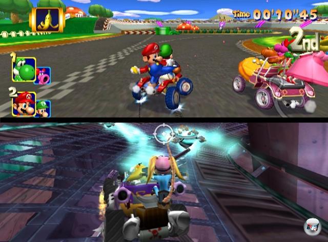 Sport ist bekanntermaßen eine Freizeitaktivität, die man nur selten auf sich allein auslebt - was nicht nur an dem Wettbewerbs-Gedanken liegt, der bei lediglich einem Teilnehmer zu kurz kommen könnte. Viele Fußball-, Basketball- und Eishockey-Games kann man schon seit einiger Zeit nicht nur gegeneinander, sondern auch im selben Team zusammen spielen. Und im Falle von Spielen wie Mario Kart: Double Dash oder Crash Tag Team Racing darf man sich sogar einen Wagen teilen, wobei der eine Spieler fürs Fahren und der andere für das von Hohnlachen begleitete Ausschalten der Gegner verantwortlich ist. 1879923