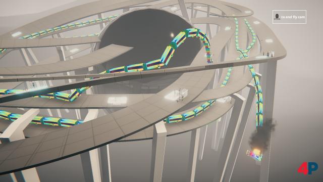 Nach einem Game Over kann der Spieler seine Bus-Schlange aus der Luft bewundern - hier war unser Party-Bus auf grauen Autobahnen unterwegs.