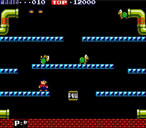Mario Bros. (1983)<br><br>Wo ein Mario ist, ist ein Luigi nicht weit - auch wenn er sich 1983 von seinem Bruder nur dadurch unterschied, dass seine Latzhose grell grün statt dunkelblau war. Mario Bros. war der erste offizielle Auftritt der Brüder unter ihrem endgültigen Namen; ein simpler Ableger von Donkey Kong, in dem es darum ging, aus Röhren kriechende Gegner möglichst schnell durch Hüpfattacken zu erledigen - man sieht schon, hier wurde der Nährboden für zukünftige Spielstandards gelegt. Aber das Ganze war immer noch kein Jump-n-Run! Das kam erst mit... 1724675