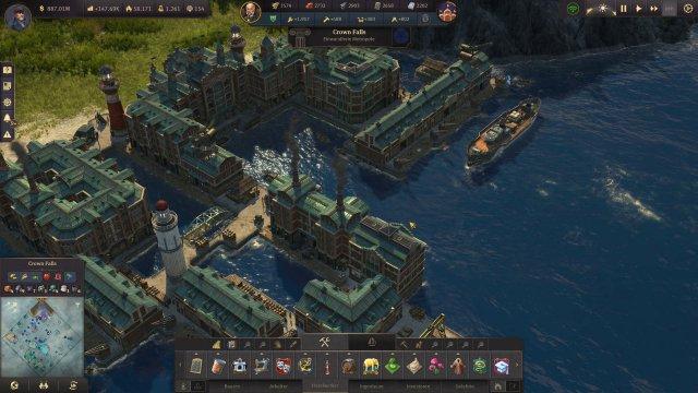 Die Speicherstadt und ihre sechs Modul-Gebäude können mit Kai-Mauern und Ornamenten gestaltet werden.