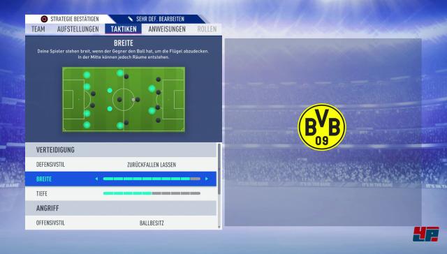 Jetzt kann man auch die Taktiken feiner modifizieren und fünf Stufen als Matchplan vorbereiten.