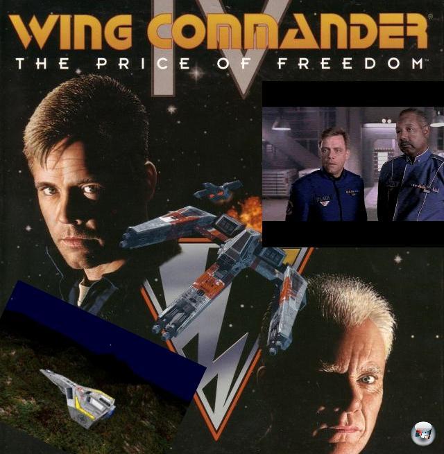 <b>Wing Commander 4: The Price of Freedom</b> (Februar 1996)<br><br>Mit dem Sieg über die Kilrathi mag der Krieg vorbei sein - aber das bedeutet noch lange keinen Frieden. Denn auf einmal sieht sich die Konföderation in einem Konflikt mit den früheren Partnern der Randwelten - sogar der in den vorgezogenen Ruhestand abgewanderte Christopher Blair muss in den aktiven Dienst zurück geholt werden! Der findet schnell heraus, dass hinter all den Tumulten eine Geheimorganisation von Kriegstreibern steckt, die ihre Wurzeln in den höchsten Rängen der Konfed hat. Wing Commander 4 legte mehr Wert auf Story als je zuvor - wieder wurden echte Schauspieler genutzt, die dieses Mal auch vor echten Kulissen und nicht nur vor dem Greenscreen agierten (der Bluescreen kam aufgrund der blauen Uniformen nicht in Frage). Auch hier hatte der Spieler in den meisten Dialogen die Wahl zwischen mehreren Antwortmöglichkeiten, was u.a. dafür sorgte, dass man sich gleich zu Beginn einen späteren Flügelmann sichert oder zu einem unbestimmten Zeitpunkt die Seiten wechselt. Legendär ist das große Finale, das nicht im Weltall, sondern in einem Gerichtssaal spielt. Abhängig von den Sätzen, die der Spieler Chris Blair in den Mund legt, gibt es verschiedene Enden, u.a. ein gutes und ein böses. 2160138