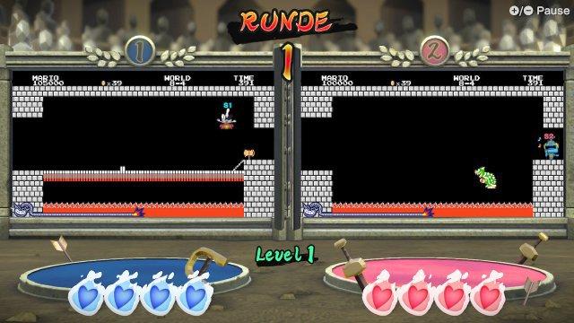 Bowser-Besiegen im Duo - je nach Spielmodus tritt man schon mal in zwei Fenstern parallel an. Hier seht ihr eine Disziplin mit Nintendo-Retro-Touch.
