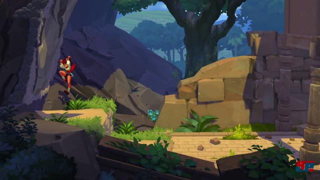 Ajna springt, rutscht und klettert durch 2D-Welt.