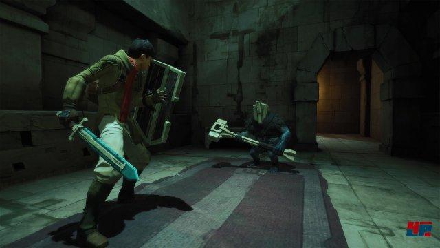 Ähnlich wie in der Dark-Souls-Reihe kann man den Gegner fixieren und Angriffe abblocken.