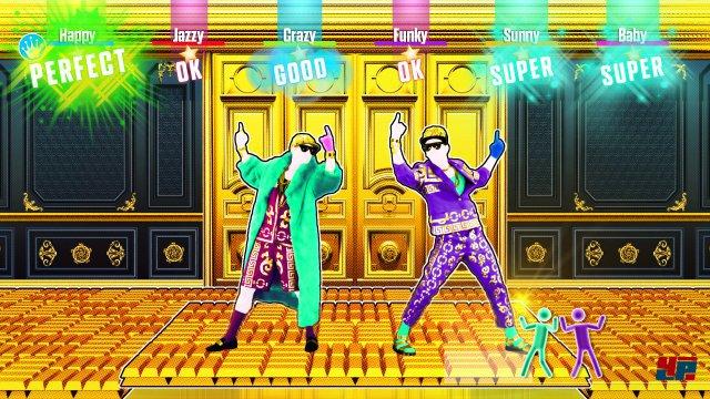 Bis zu sechs Spieler können abtanzen, teils mit unterschiedlichen Choreografien.