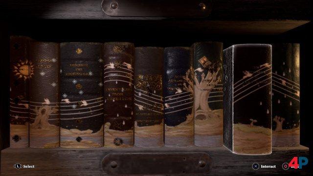 Zwischen den Musik-Abschnitten muss man kleine Rätsel bewältigen. Hier müssen z.B. Bücher in der richtigen Reihenfolge angeordnet werden.