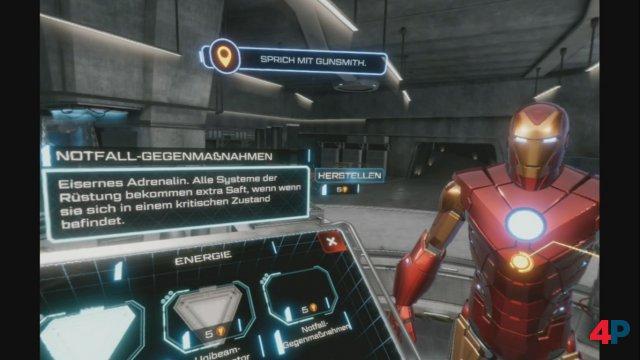In der Werkstatt lässt sich der Anzug mit Verbesserungen sowie neuen Waffen und Skins versehen.