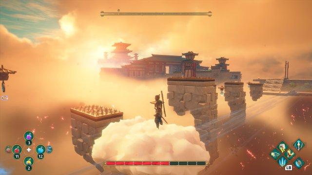 In diesen abgeschlossenen Rätsel-und Geschicklichkeitswelten kann Ku auf einer Wolke reiten. Wen erinnert das noch an Son Goku?