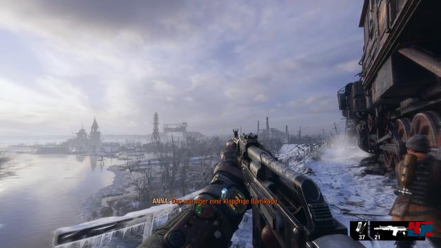Ein Blick auf die Winterlandschafdt auf dem PC mit RTX-Karte.