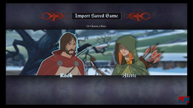 Auch auf PS4 und Xbox One könnt ihr einen alten Spielstand laden oder neu starten: Dabei habt ihr die Wahl zwischen Rook oder Alette.