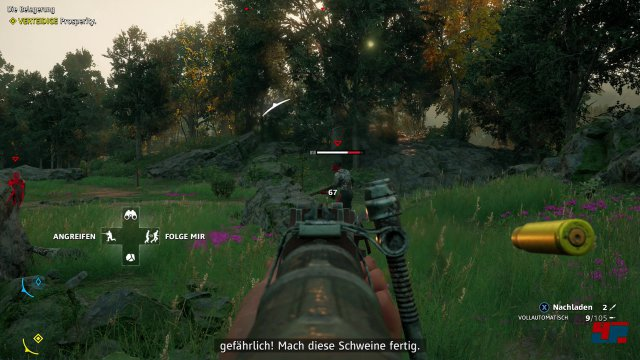 Die Stärken von Far Cry liegen seit jeher im Shooter. In Hope County ist das Treffer-Feedback zwar verbesserungsfähig, doch als Arcade-Ballerei macht die Action eine Menge Spaß.
