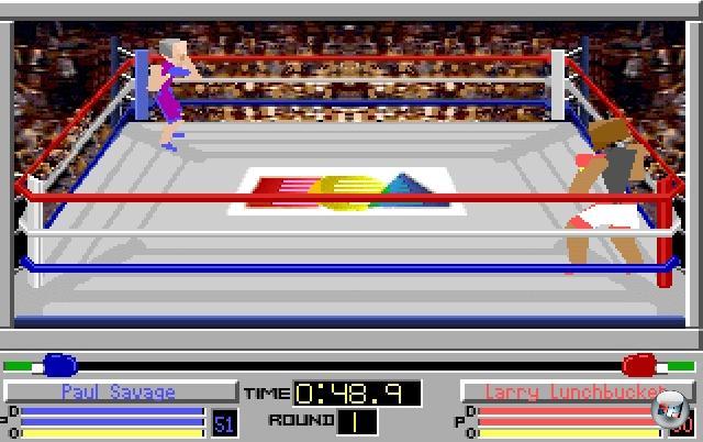 <b>4D Sports Boxing</b> (auch bekannt als 4-D Boxing)<br><br>4D-Sports Boxing von Distinctive Software (die Firma, aus der später EA Canada erwuchs) darf sich wohl der erste echte Box-Simulator nennen. Zwar ist das Spiel gerade aus heutiger Sicht hässlich wie zwei Nächte, was aber daran liegt, dass es komplett auf Polygongrafik setzt - und die war 1991 nunmal noch ziemlich krude. Nichtsdestotrotz war das Spiel sehr innovativ: Sehr viele Schläge waren möglich, die Kamera schwenkte dramatisch hin und her, es gab einen kompletten Karrieremodus sowie die Möglichkeit, seinen Boxer ausgiebig per Training auf die Kämpfe vorzubereiten. Sehr abgefahren war auch die Ego-Perspektive, eine von vielen wählbaren Ansichten: Erstmals durfte man aus den Augen des Athleten selbst die klobigen Fäuste schwingen. 2203889
