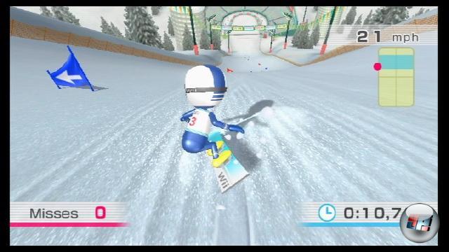 Als Vollblutzocker haben wir uns natürlich erst einmal auf die Kategorie »Balancespiele« gestürzt. Auf dem Bild seht ihr, wie der Bildschirm beim Snowboard-Slalom ausschaut. Ähnlich gut lassen sich auch die übrigen Wintersport-Disziplinen wie Ski-Slalom und Schanzensprung steuern. Weitere Spielchen in dieser Gruppe heißen Seiltanz, Flusskugel, Pinguin-Picknick, Zazen, Kopfball und Kugelballett. 1769173