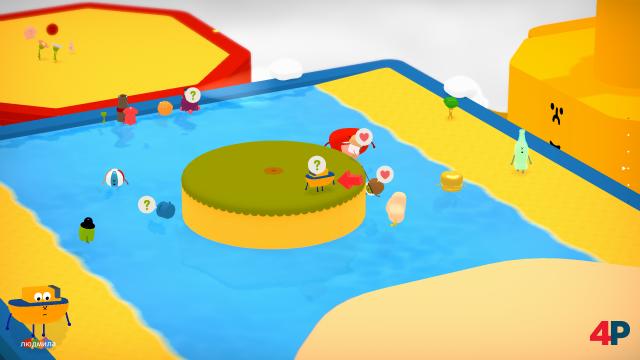Die Spielwelt von Wattam setzt sich aus viereckigen Ebenen und andockende Schiffen zusammen - dort tummeln sich eine Menge Charaktere.