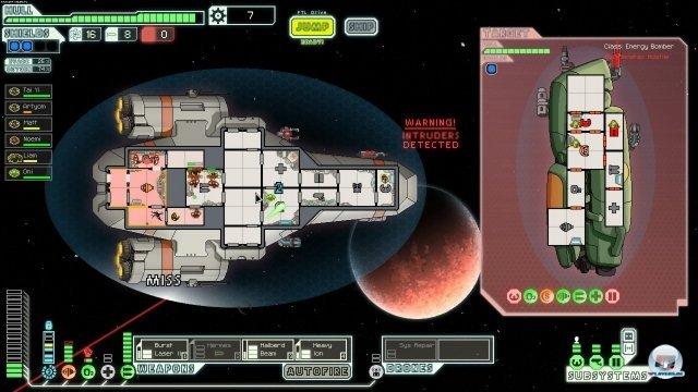 <b>Faster Than Light</b><br><br> Auch ins All hat es das Spielschema verschlagen: Im kürzlich von uns getesteten Faster Than Light für Windows, Linux und Mac versucht man, mit seinem Raumkreuzer möglichst lange in die Weiten des Weltraums vorzudringen, die Crew zu Höchstleistungen anzutreiben und das Schiff immer schlagfertiger zu machen. Sektor für Sektor wird man immer besser und weiß mehr übers All, in dem Aufständische gegen die Föderation kämpfen. 92413792