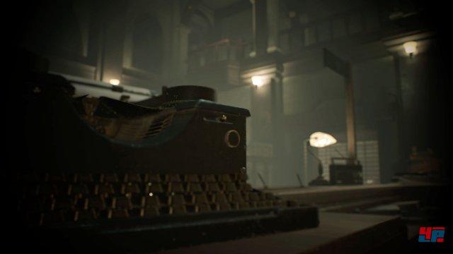 Neben automatischen Speicherpunkten darf man den Spielstand an Schreibmaschinen auch manuell sichern. Auf dem höchsten Schwierigkeitsgrad sind Farbbänder Pflicht!