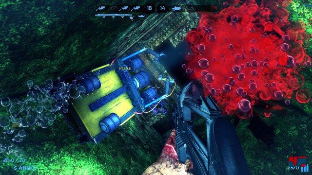 Mit Unterwassersturmgewehr und Beweunggssensoren muss der kleine Tauchroboter S.T.E.V.E. geschützt werden.