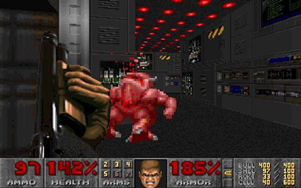 Doom<br><br>Gerade mal ein Jahr nach dem Spiel, das so ähnlich heißt wie ein Stein, der in der Nähe eines Wolfes liegt, schaffte es wieder einmal id Software, die gesamte Spielewelt umzukrempeln - und zwar so gründlich, dass nach Doom nicht nur der Begriff »Doom-Klon« eine Zeit lang sehr populär war für prinzipiell jedes Spiel, das irgendwie 3D-Grafik bot, sondern auch noch die Jugendschützer dieser Welt auf die Barrikaden schickte. Natürlich waren die Zensoren hierzulande wie so oft am tüchtigsten, aber das soll jetzt keine Rolle spielen. Doom war ein Meilenstein, nicht nur technisch, sondern auch spielerisch, hat ganz nebenbei den Begriff »Deathmatch« ins Leben gerufen - und selbst Bill Gates persönlich konnte aus der Popularität seinen Nutzen ziehen, indem er mit WinDoom Werbung für das gerade frisch veröffentlichte Windows 95 machte. 1718114