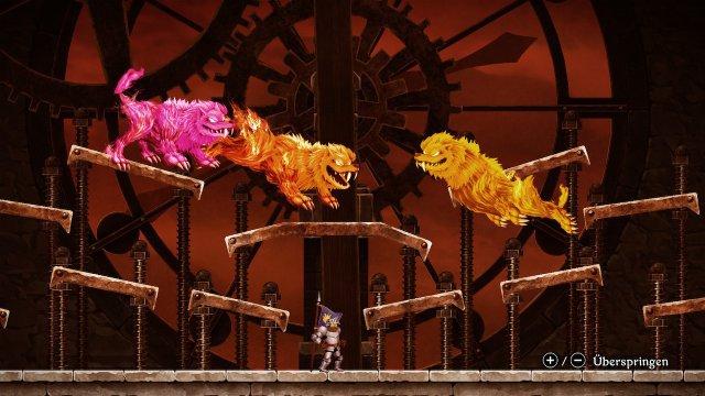 Die Bosskämpfe sind knackig - hier geht es gegen den Cerberus, der sich in drei Löwen teilen kann.