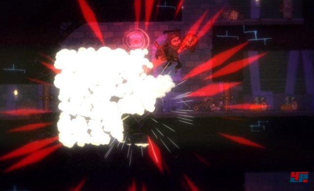 Erwischt die aufrüstbare Bombe eine angrenzende Mine, lassen sich auch fette Wände einreißen.