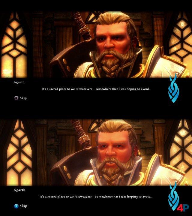 Grafik-Vergleich: Das obere Bild zeigt ein Gespräch in der Remaster-Version. Das untere Bild stammt von der Xbox-360-Fassung.