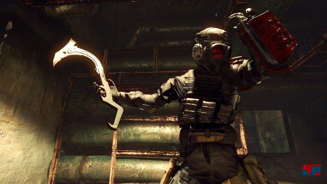 Wird die Munition knapp, greift man zur Kampf-Axt, mit der man auch manche Wände erklimmen kann.