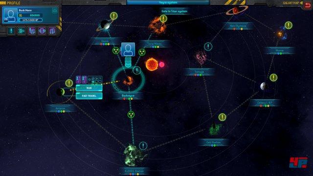 Die Verbindungsrouten zwischen den Planeten sind jeweils die Levels, die es mit der Transportplattform zu absolvieren gilt.
